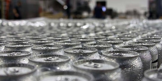Top Of Cans On Production Line. Old Nation Brewing Company.